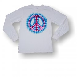 Adult Long Sleeve T-Shirt - Peace Sign (White)