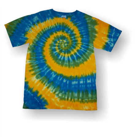Adult Short Sleeve T-Shirt - Yellow Green Blue Spiral - Click Image to Close